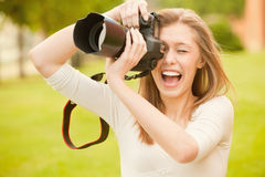 Girl with mirror camera Royalty Free Stock Photography