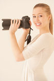 Girl with mirror camera Royalty Free Stock Photos
