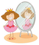 Girl and mirror. Illustration of girl in front of a mirror on a white background Stock Photo