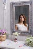 Girl in the mirror Stock Photo