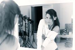 Girl before the mirror, retro Stock Image