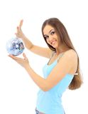 Girl with a mirror sphere Royalty Free Stock Photography