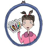 Girl in the Mirror Thinking About Season Type of Female Colors. Vector Illustration. Royalty Free Stock Image
