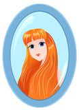 Girl in a mirror on white. vector illustration