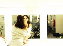 Girl before the mirror Royalty Free Stock Image