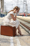 Girl missed the train Royalty Free Stock Photo