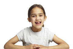 Girl with missing front tooth Royalty Free Stock Images
