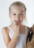 Girl with missing teeth. Little girl with missing front teeth Royalty Free Stock Photography
