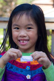 Girl Missing Tooth. Little girl lost her first tooth and waiting for the tooth fairy stock image