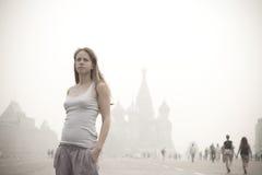 The girl in the mist Stock Photos