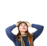 Girl in mittens. An image of a girl in a green hat, a scarf,mittens Stock Image
