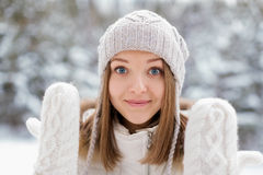 Girl in Mittens Stock Photography