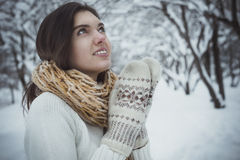 The girl in mittens Royalty Free Stock Photography