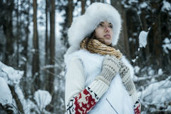 The girl in mittens Stock Images
