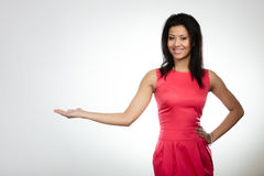 Girl mixed race holding open palm Stock Photography
