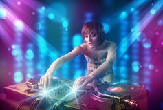 Girl mixing music in a club Stock Photos