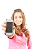 Girl with mobile. Royalty Free Stock Photos