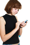 Girl with mobile Royalty Free Stock Image