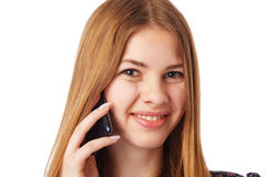 Girl with Mobile. Royalty Free Stock Image