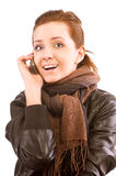 Girl with mobile phone Royalty Free Stock Photos