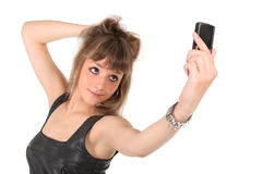 Girl with mobile phone Royalty Free Stock Images