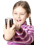 Girl with mobile phone. Little cute girl with mobile phone Royalty Free Stock Photos