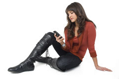 Girl with mobile phone Stock Images