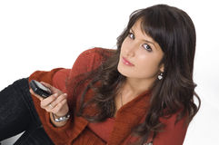 Girl with mobile phone Royalty Free Stock Photography