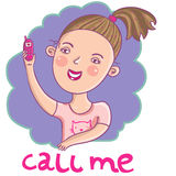 Girl with a mobile phone. Beautiful girl with a mobile phone in cartoon vector Royalty Free Stock Photos