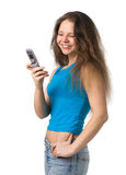 Girl with a mobile phone Stock Image