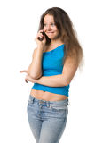 Girl with a mobile phone Stock Images