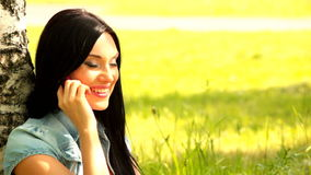 Girl  mobile phone Stock Image