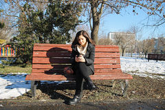 Girl with mobile phone in park in winter. Portrait of a auburn girl using here telephone and standing on a bench from a park in winter Royalty Free Stock Photos