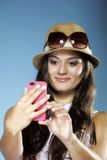 Girl with mobile phone smartphone reads message Royalty Free Stock Photos