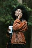 Girl, mobile phone Stock Photos