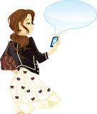Girl with mobile phone and text message royalty free illustration
