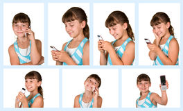 The girl with mobile phone Stock Photo