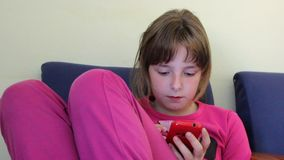 Girl with mobile smart phone stock footage