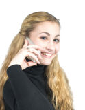 Girl with mobile telephone Stock Image