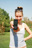 Girl with the mobile telephone. The beautiful girl with the mobile telephone Royalty Free Stock Image