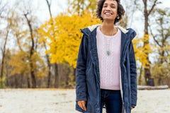 Girl model afroamerican posing outdoor.  royalty free stock image