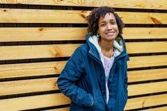 Girl model afroamerican posing outdoor.  stock photos