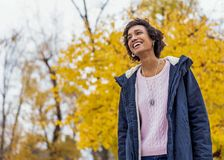 Girl model afroamerican posing outdoor.  stock photo