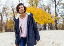 Girl model afroamerican posing outdoor.  stock photography