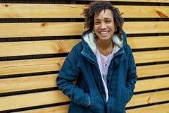 Girl model afroamerican posing outdoor.  royalty free stock photos