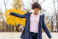 Girl model afroamerican posing outdoor.  royalty free stock photography
