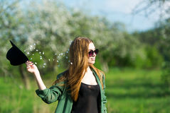 The girl model in an apple-tree garden. royalty free stock images