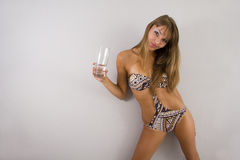 Girl model in a bathing suit Stock Images