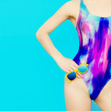 Girl model in bright fashionable swimsuit Stock Photo