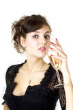 Girl model with a glass of champagne Royalty Free Stock Photos